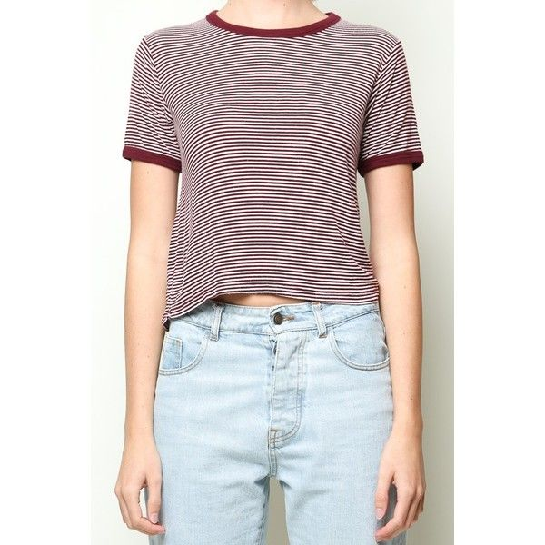Nadine Top ($20) ❤ liked on Polyvore featuring tops, blue striped top, blue crop top, blue top, striped crop top and cropped tops
