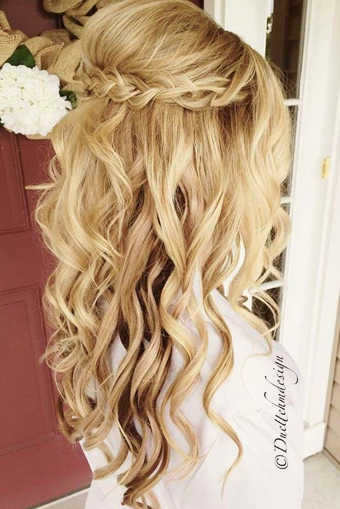 50 Gorgeous Half Up Half Down Hairstyles Perfect For Prom Or A Formal Event Wedding Hair Extensions Hair Styles Curly Wedding Hair