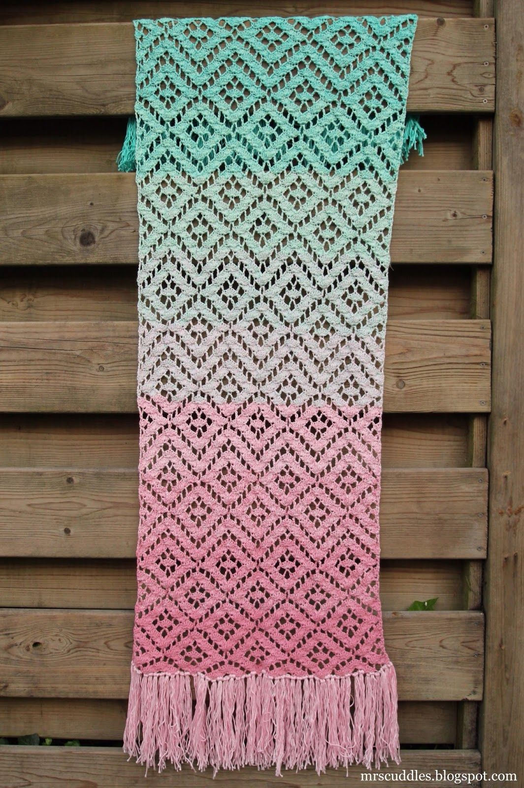 Mrs. Cuddles: Diamond lace scarf | crochet | Pinterest | Cuddling ...