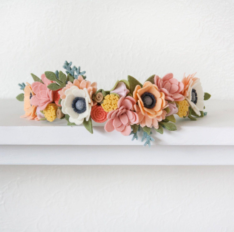 "Photo of Items similar to Felt Flower Crown ""Woodland"" on Etsy"