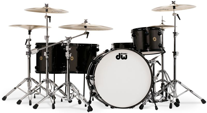 dw metallic black drums with black chrome hardware drums and drumming drums cajon drum. Black Bedroom Furniture Sets. Home Design Ideas