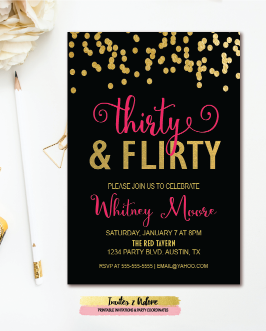 Thirty Flirty 30th Birthday Party Invitation