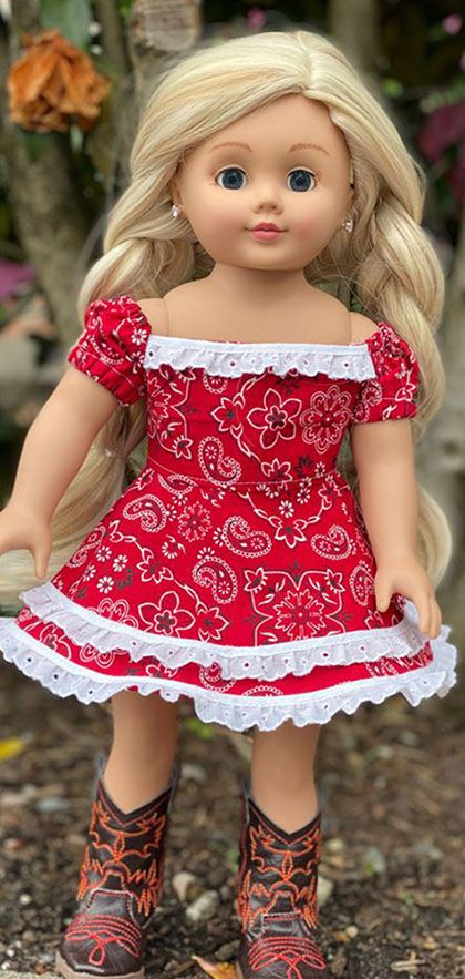 Western Dress PDF Sewing Pattern for 18 Dolls - American Girl Doll Pattern - Our Generation