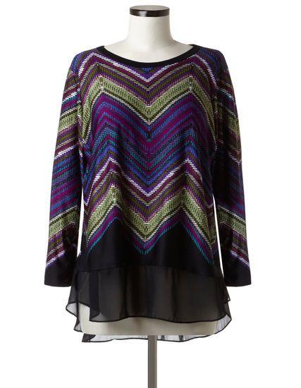 Cleo | Plus Size long sleeve round neckline printed tunic with chiffon hem detail and contrast black neckline #CleoFashion