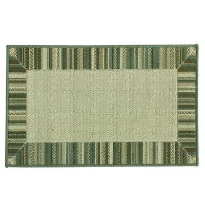 """Bacova Guild Cotton Elegance Border Stripe Blue Rug Rug Size: 1'8"""" x 2'9"""""""