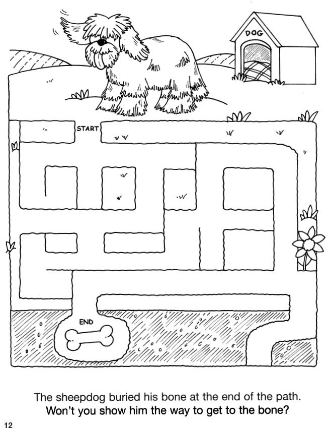 welcome to dover publications cute coloring 39 maze 39 pictures work sheets mazes for kids. Black Bedroom Furniture Sets. Home Design Ideas