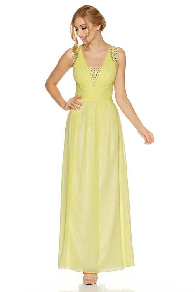 Quiz Lemon Chiffon Embellished V Neck Maxi Dress Size Uk 12 Dh084 Nn 01 Fashion Clothing Shoes Accessories Womensclothing Dresses Ebay Link