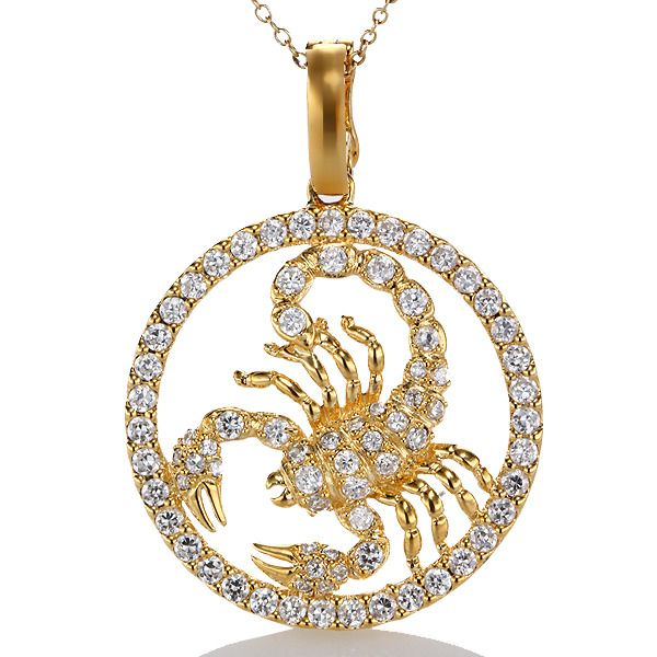 plated jewelry medallion ascending cam chain gold gunnarhaus scorpio zodiac necklace astrological products
