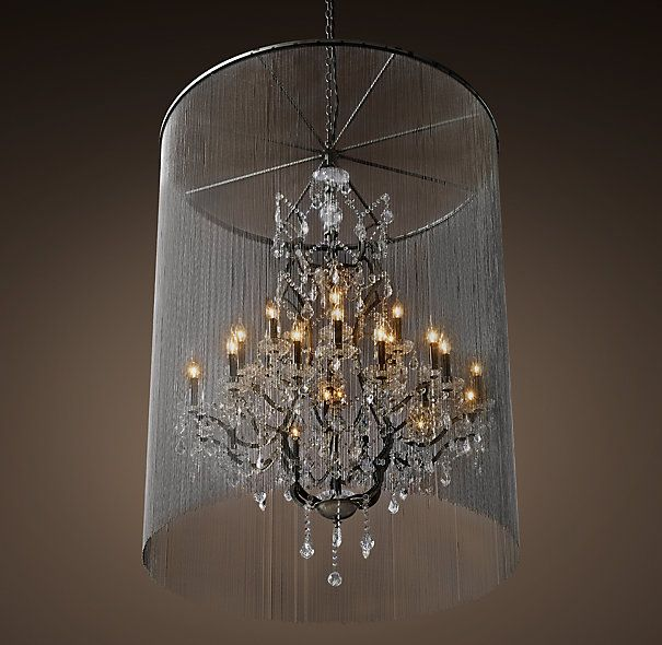 Rh S Vaille Crystal Chandelier 45 A Shimmering Veil Of Ball Chain Adds An