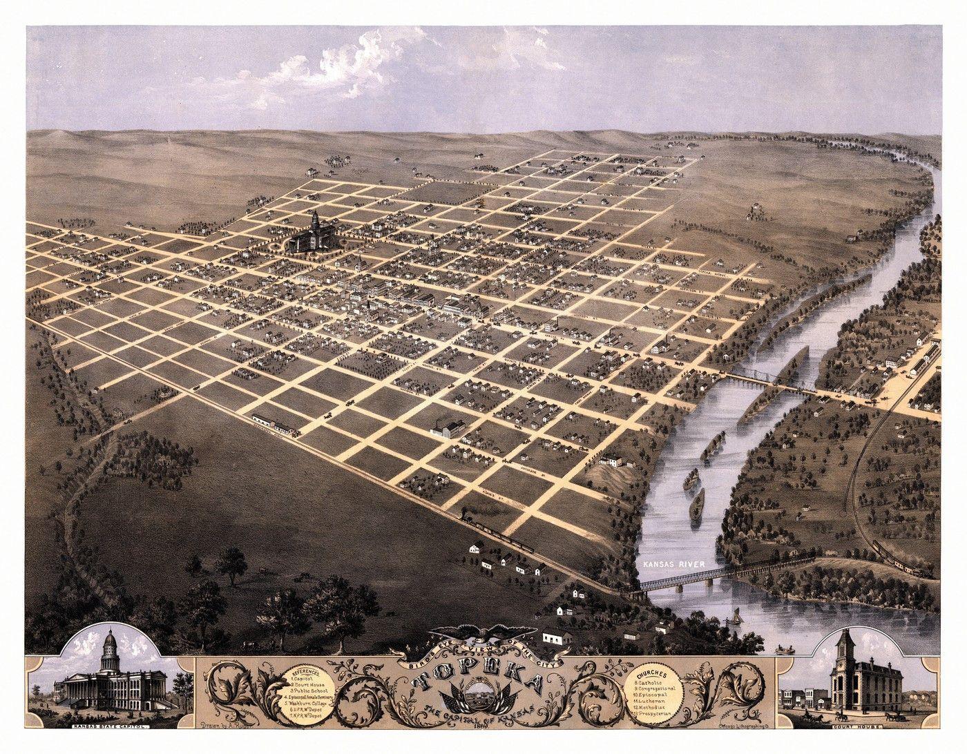 Old Map of Topeka Kansas 1869 Shawnee County Poster Kansas