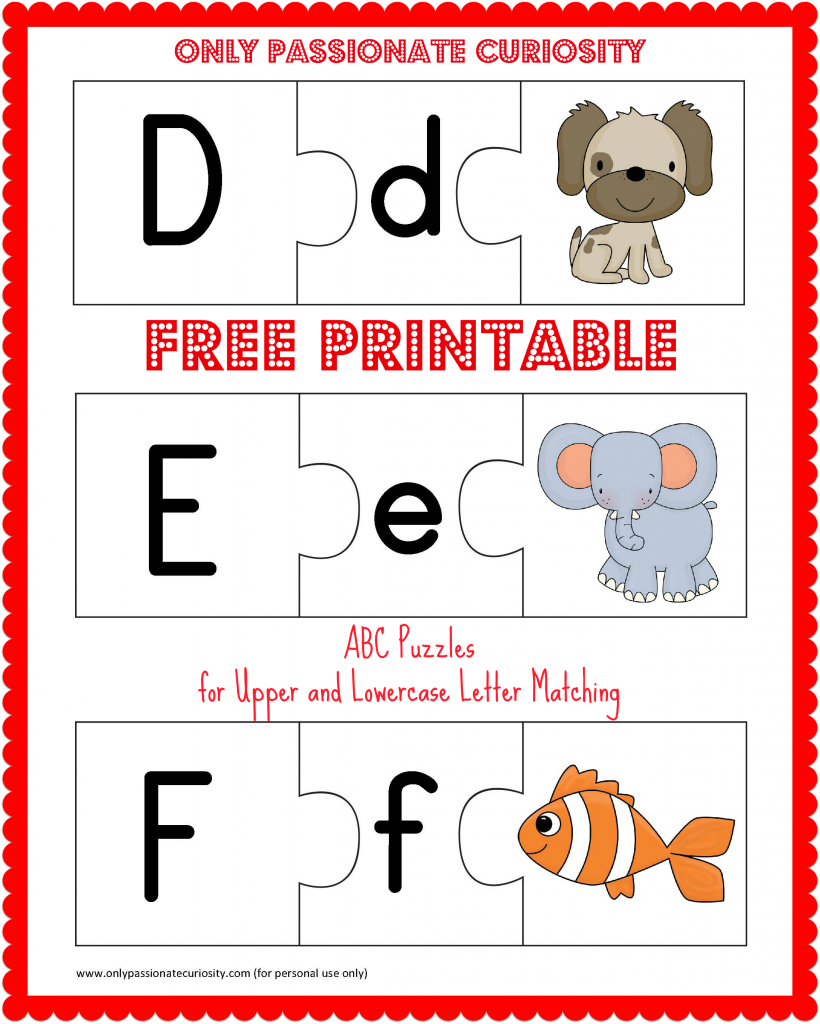 FREE Printable ABC Puzzles: Upper and Lowercase Letter Matching ...
