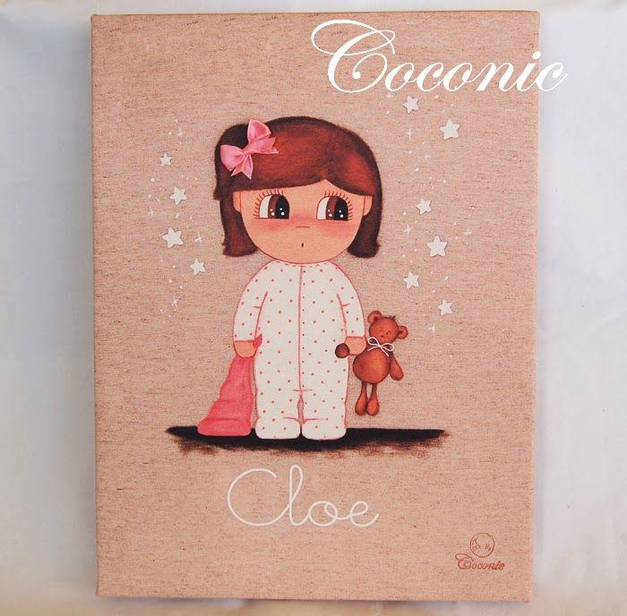 COCONIC: Cuadro infantil impresión en lienzo de mis diseños personalizado con el nombre para la pequeña Cloe. Temática hora de dormir.