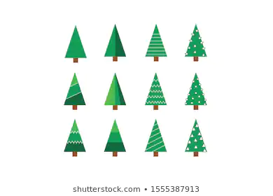 Collection Christmas Trees Icons Modern Flat Stock Vector Royalty Free 1555387913 Tree Icon Royalty Free Christmas Background