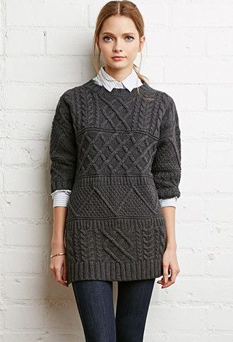 Contrast Cable Knit Sweater Forever 21 2000178808 Fashionable