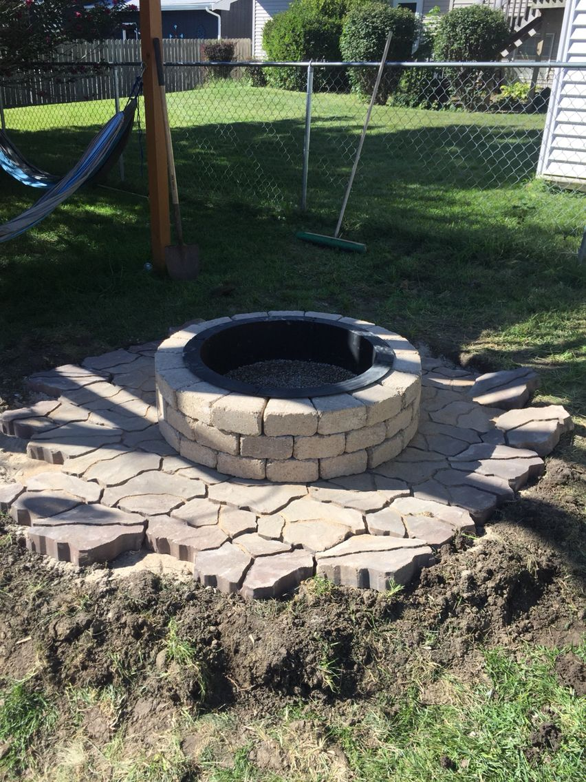 Fire Pit In Progress Flagstone In Sienna And Belgian Wedges Around Fire Pit In Tan All From Menards And Put Together In One Flagstone Fire Pit Outdoor Decor