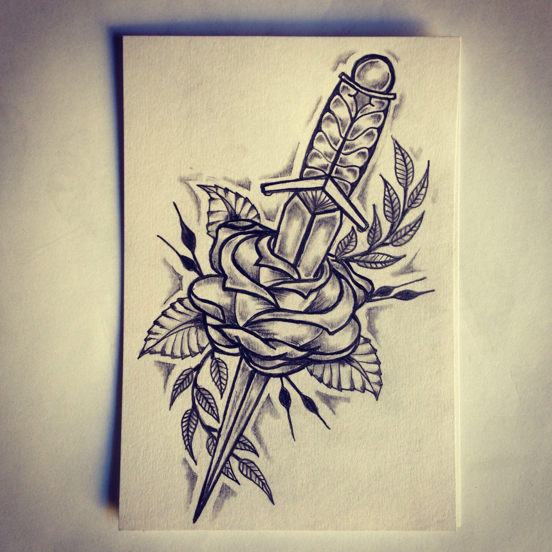 Dagger / Rose tattoo sketch / drawing / tattoo ideas by - Ranz
