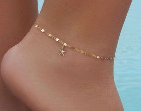 caa8d54dd Sparkly Starfish Ankle Bracelet - Original Design by Simple and Layered    14K Gold Filled or Sterling Silver Sequin Chain   Tiny 14K Gold