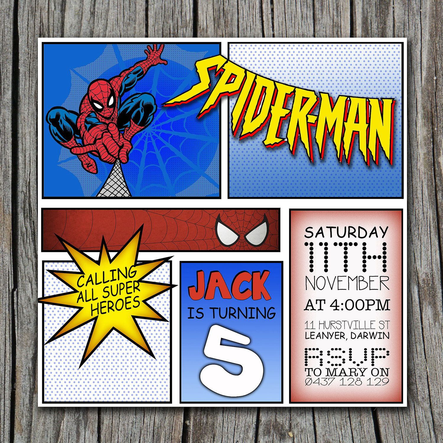 Spiderman Comic Invitation | Spiderman | Pinterest | Spiderman ...