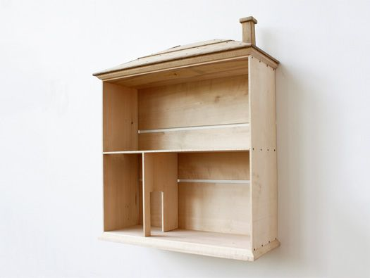 A toy gone elemental, making way for imagination, Tonella The Doll House by David Ericsson features wood, unadorned and untreated: walls in birch, elm roof, oak chimney. Free-standing or wall-mounted.