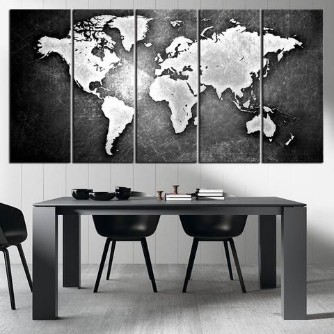 Brown predominated colorful world map on stone wall vintage world black and metalic world map canvas print ready to hang framed large wall gumiabroncs Image collections