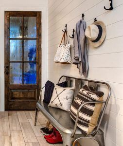 Mudroom Bench. This Farmhouse Mudroom Features Shiplap Walls, Anchor Hooks  And A Metal Tolix