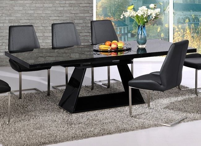 Modern Black High Gloss Extending Dining Table Brushed Steel Base