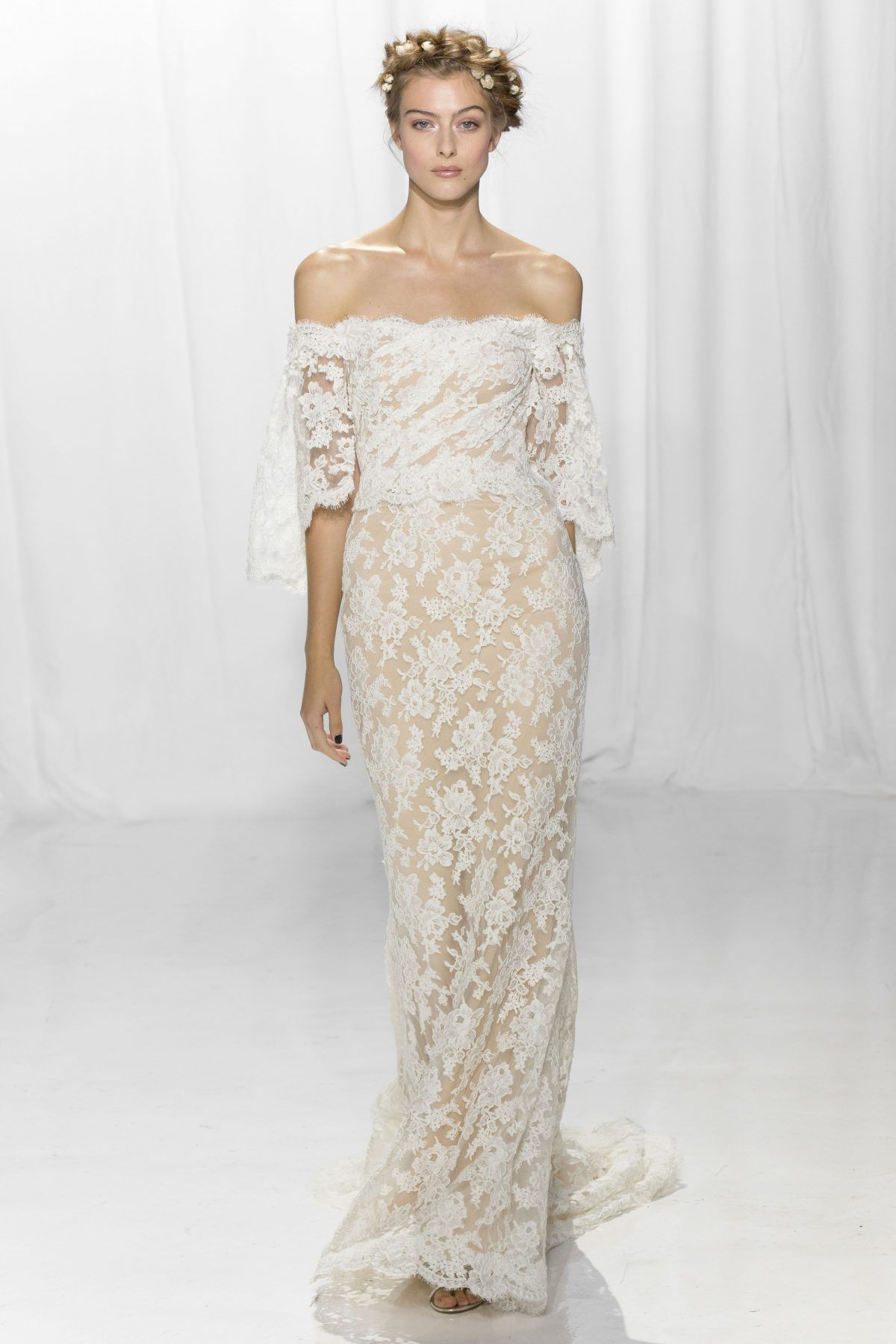 Off the shoulder lace sheath bohemian wedding dress reem acra