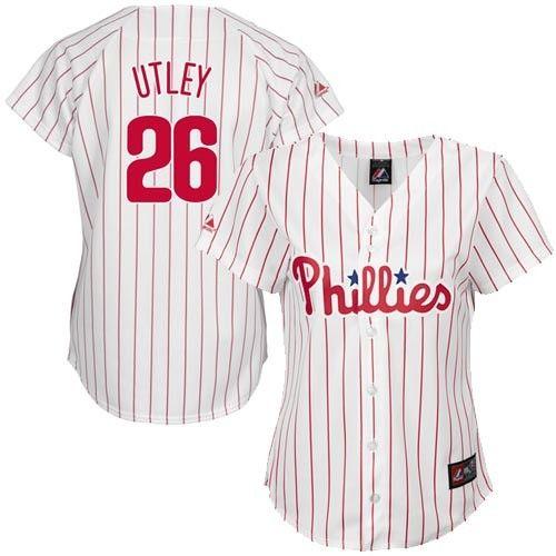 Chase Utley Philadelphia Phillies Women s  26 Majestic Replica Jersey -  White Pinstripe 6df42c4861c