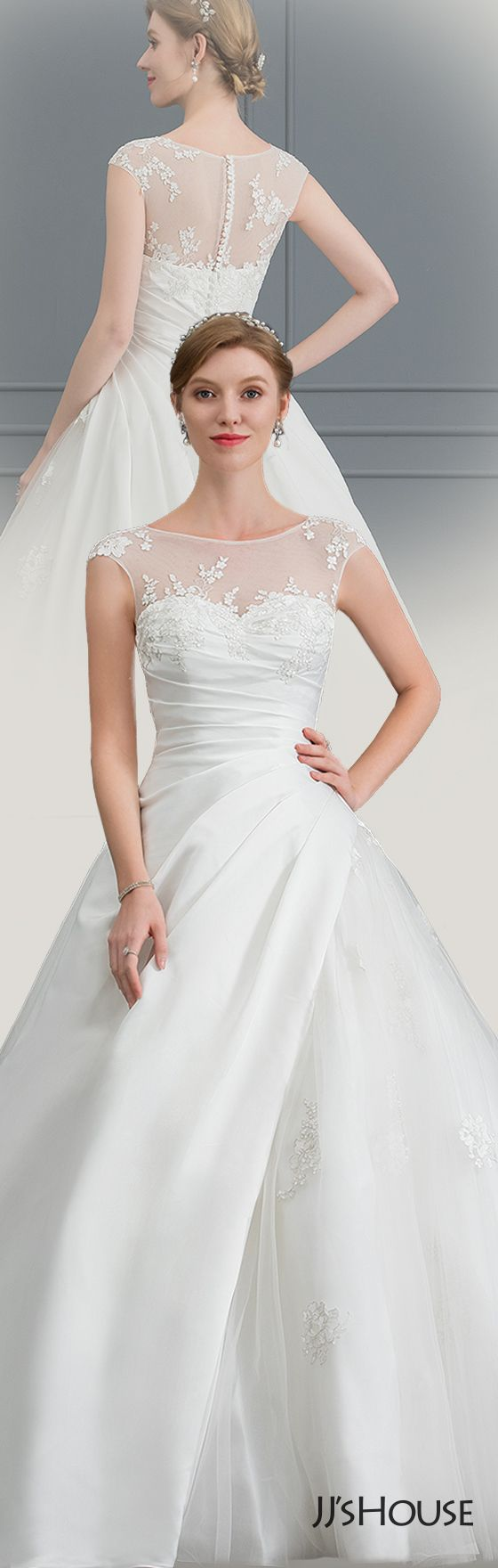 Us 277 00 Ball Gown Princess Illusion Court Train Satin Tulle Wedding Dress With Lace Jj S House Wedding Dresses Lace Wedding Dresses Tulle Wedding Dress