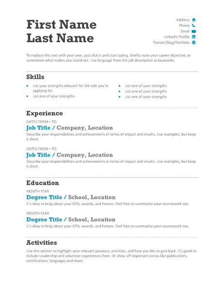 This modern resume or CV puts your skills first, and also