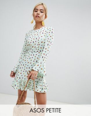 b8b7dab543391d DESIGN Petite fluted mini dress with long sleeves and pep hem in ditsy  floral in 2018