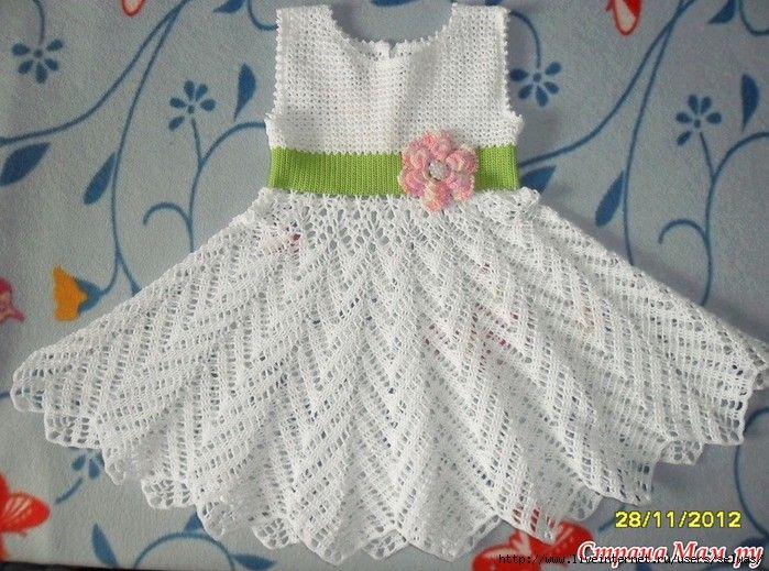 Crochet vestido elegante para las niñas, master-klass ...