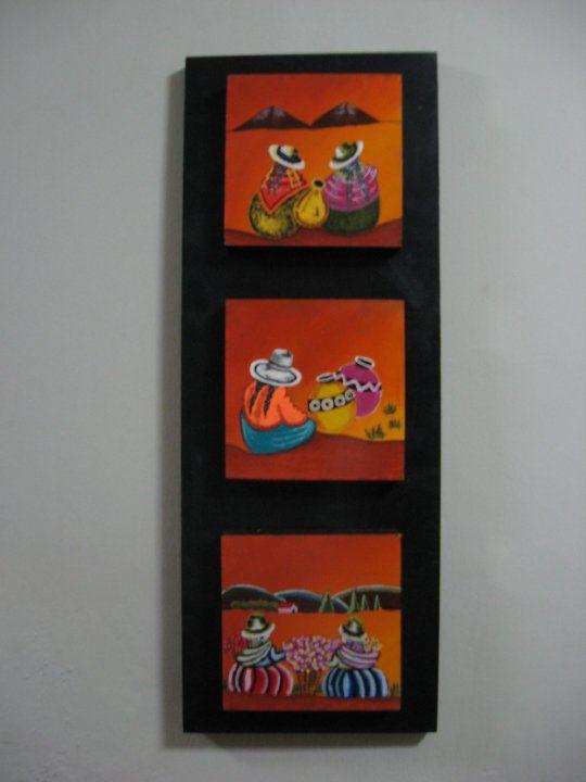 Tres Cuadros Pequenos En Uno Trabajos De Pintura Echos Por Mi Para - Cuadros-pequeos