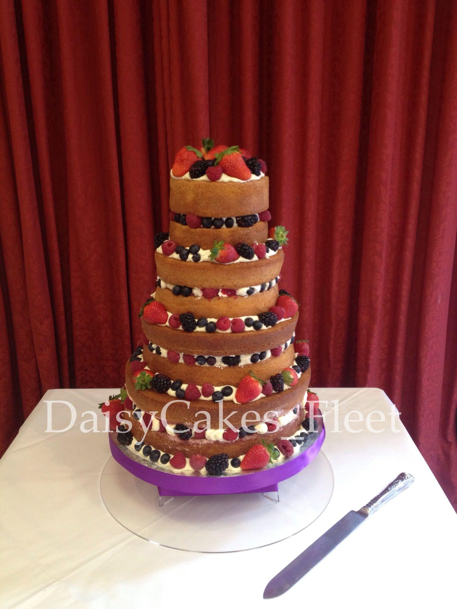 Four Tier Naked Wedding Cake Vanilla Sponge Jam Buttercream Fresh