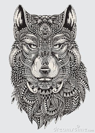 Coloriage Mandala Animaux Loup.Illustration Abstraite Fortement Detaillee De Loup Illustrations