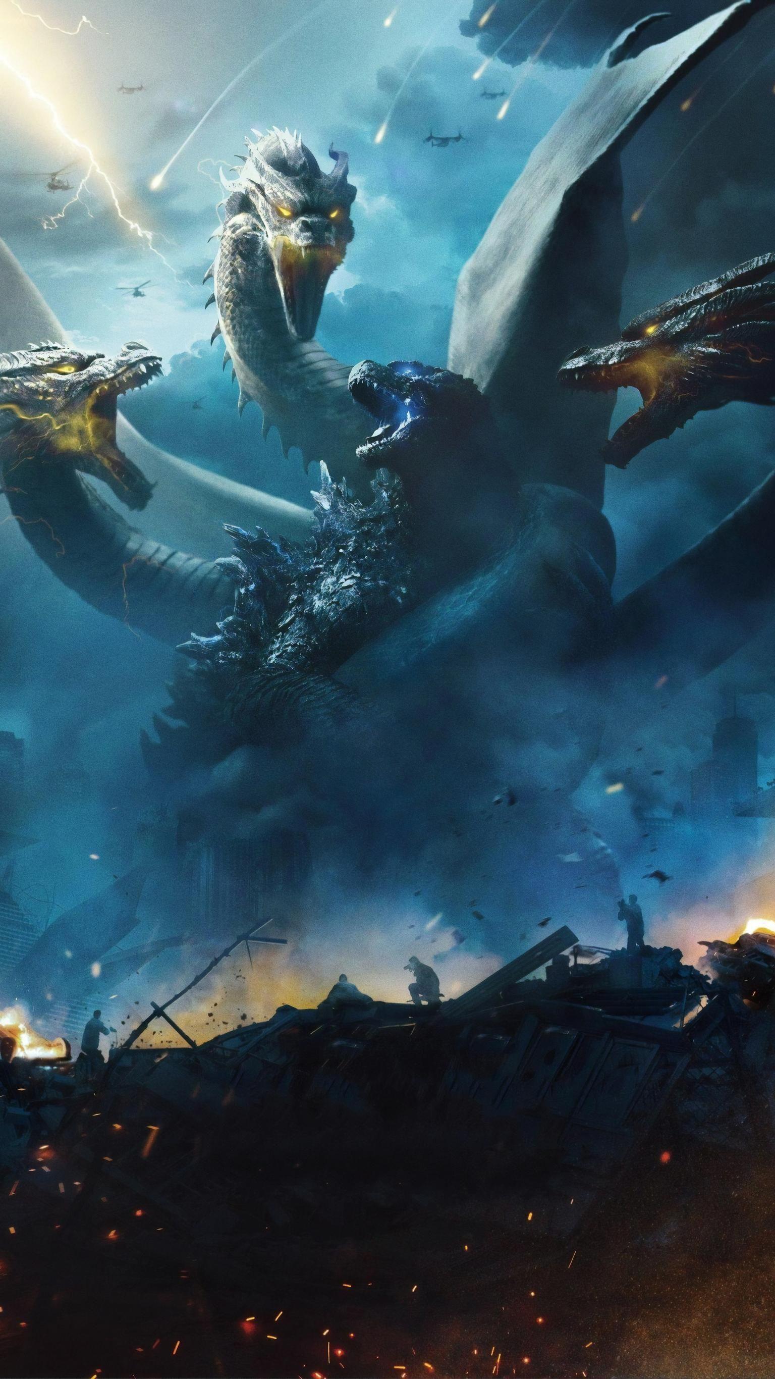 Godzilla King Of The Monsters 2019 Phone Wallpaper Moviemania Godzilla Wallpaper Godzilla Vs King Ghidorah All Godzilla Monsters