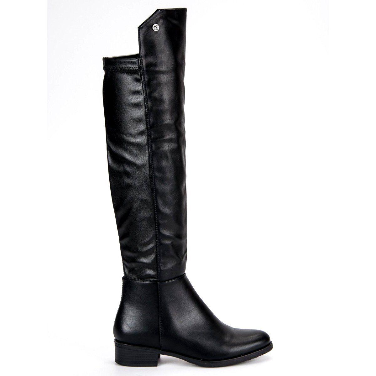 Dopasowane Kozaki Vinceza Czarne Boots Heels Shoes