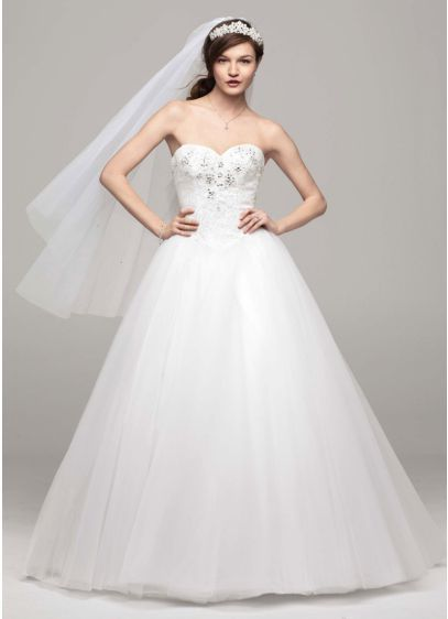 Strapless Tulle Wedding Dress with Beaded Bodice WG3693 | Happily ...