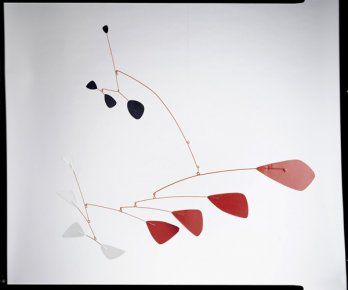 Alexander Calder is a sculptor, rendering works in 3-D.  I'd love to be able to do a light and airy mobile like this, but I have trouble making a mobile from Origami cranes. His mobiles also move and the parts interact.  It's complex to work out but a simple joy to watch.