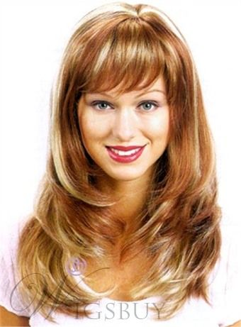New Style Natural Long Straight 18 Inches Light Cap Soft Layered