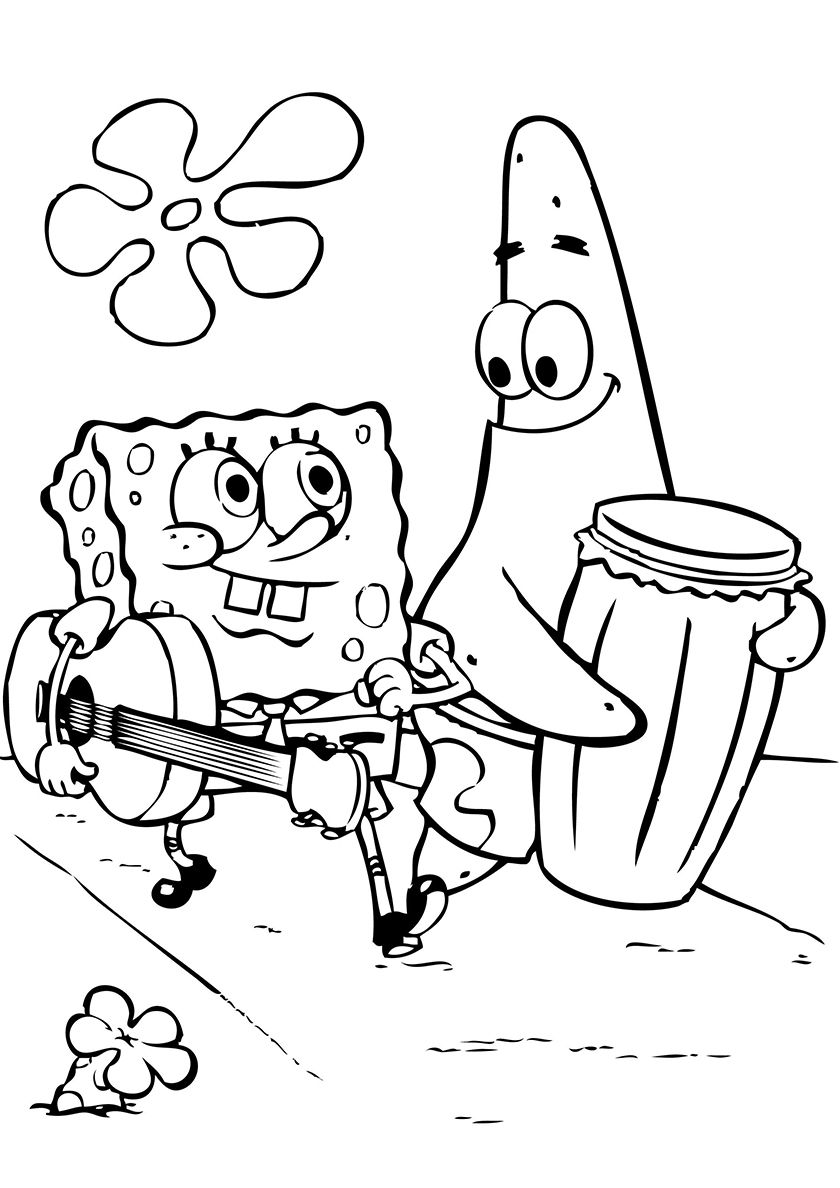 Musicians Patrick and SpongeBob - high-quality free coloring from