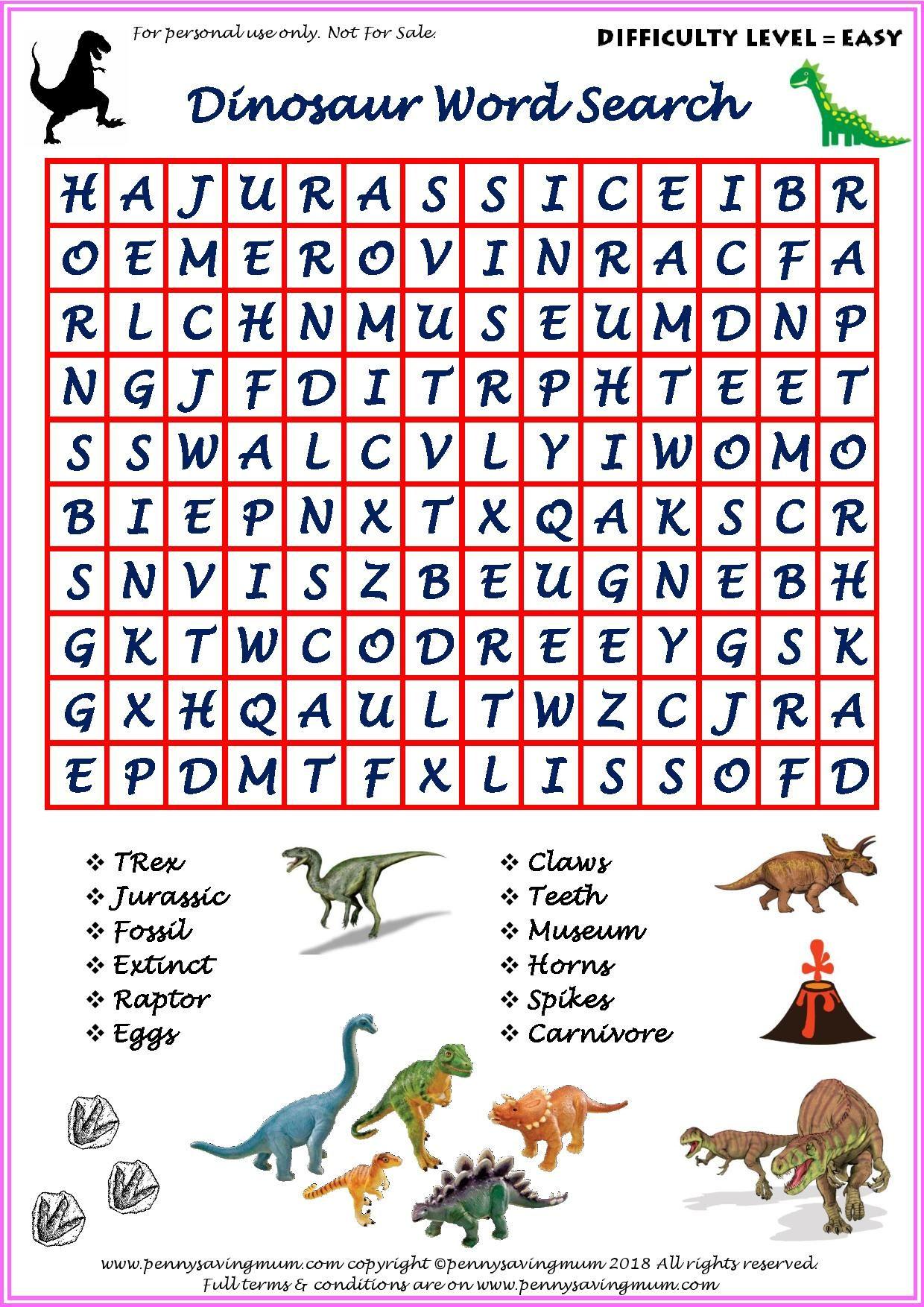 Word Search Dinosaur Easy Version