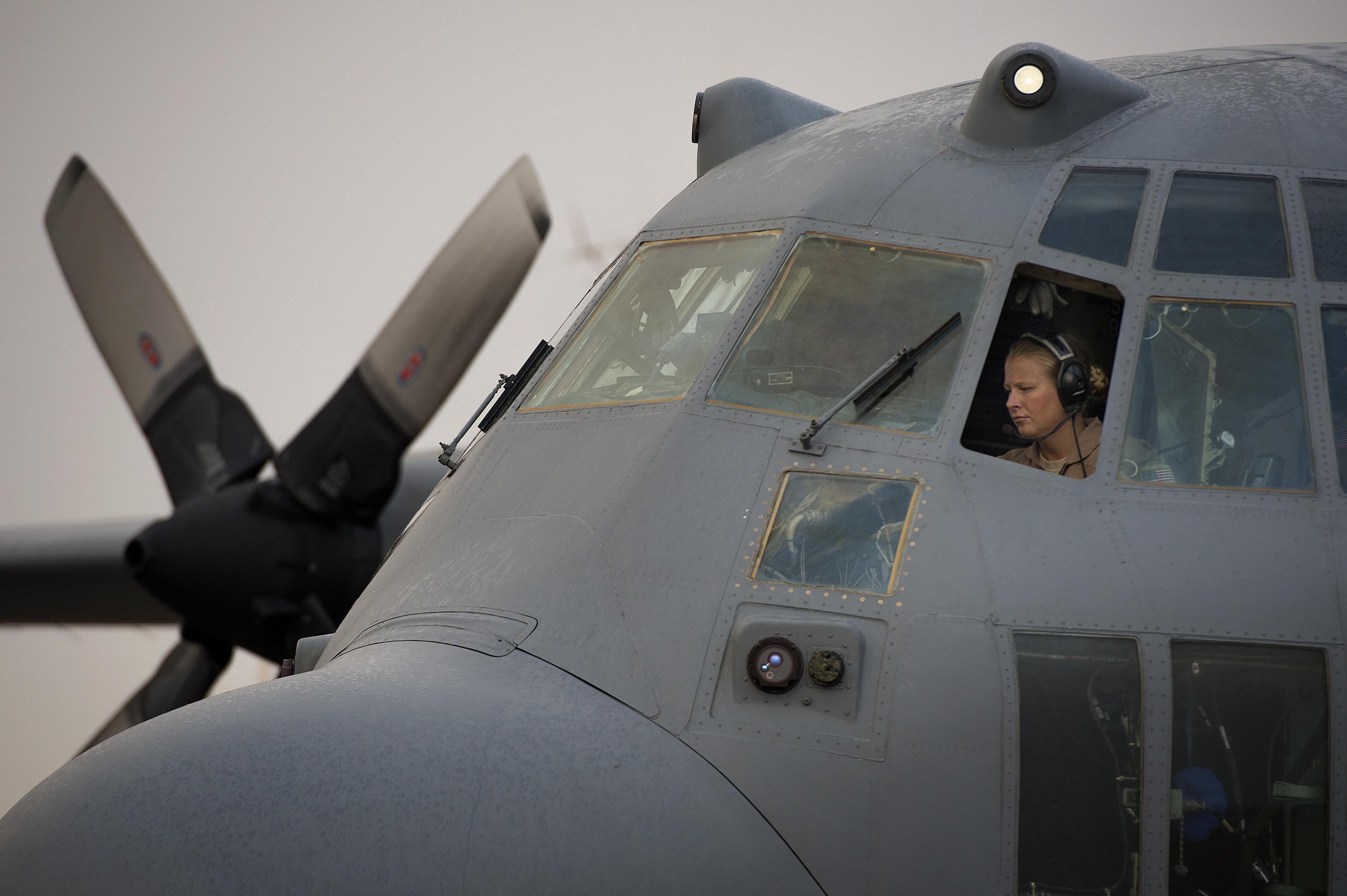 Maj Erin Kelley Performs Preflight Check On C 130h Hercules Before Embarking On Retrograde Mission To Baghdad Airport Iraq Oct 2 Alaska Air Gunship