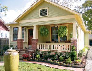 Bungalow 1 Story Wide Veranda Off Set Front Door Bungalow Landscaping Bungalow Exterior Craftsman House