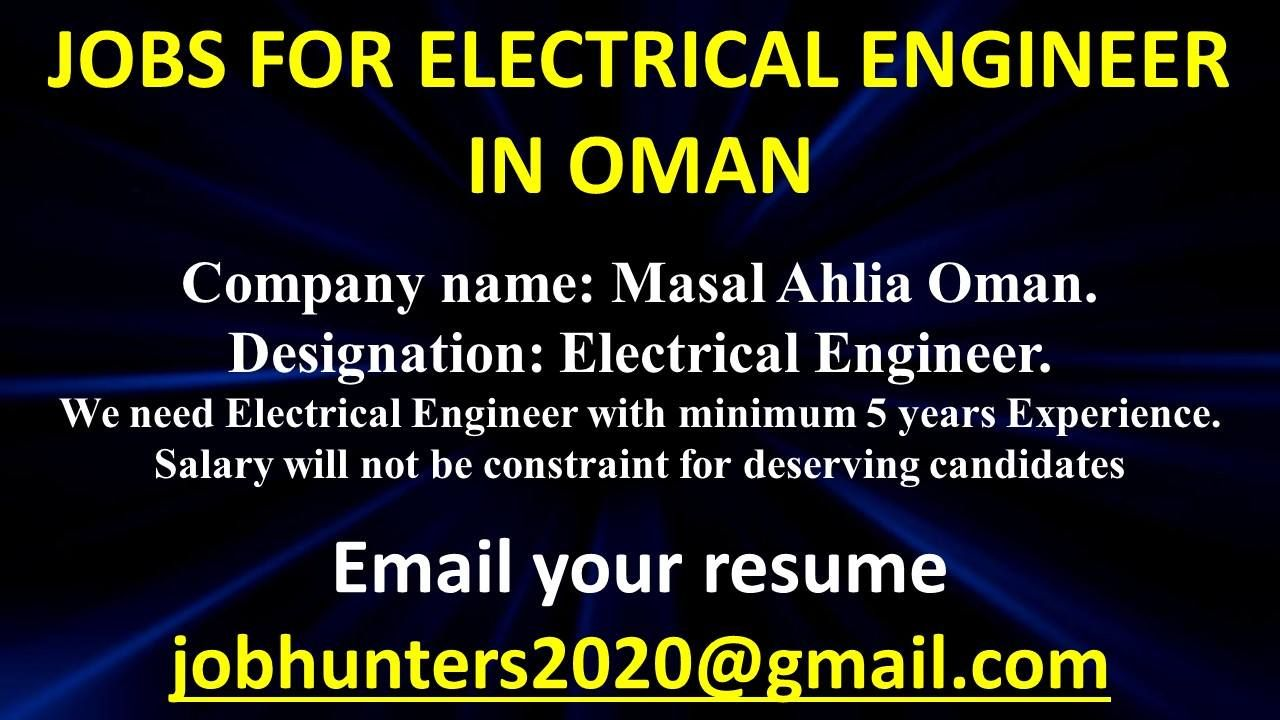 Jobs for electricalengineer in oman company name