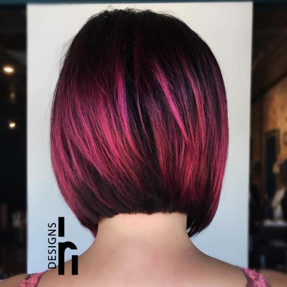 40 Ideas Of Pink Highlights For Major Inspiration Short Hair Balayage Pink And Black Hair Hair Highlights