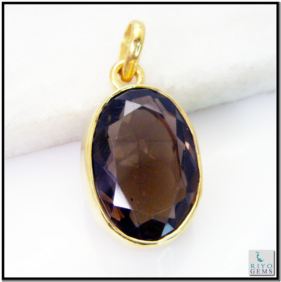 Smoky Quartz Gems 18k Yellow Gold Plated Peacock Pendant L 1.25in Gppsqu-7625 http://www.riyogems.com