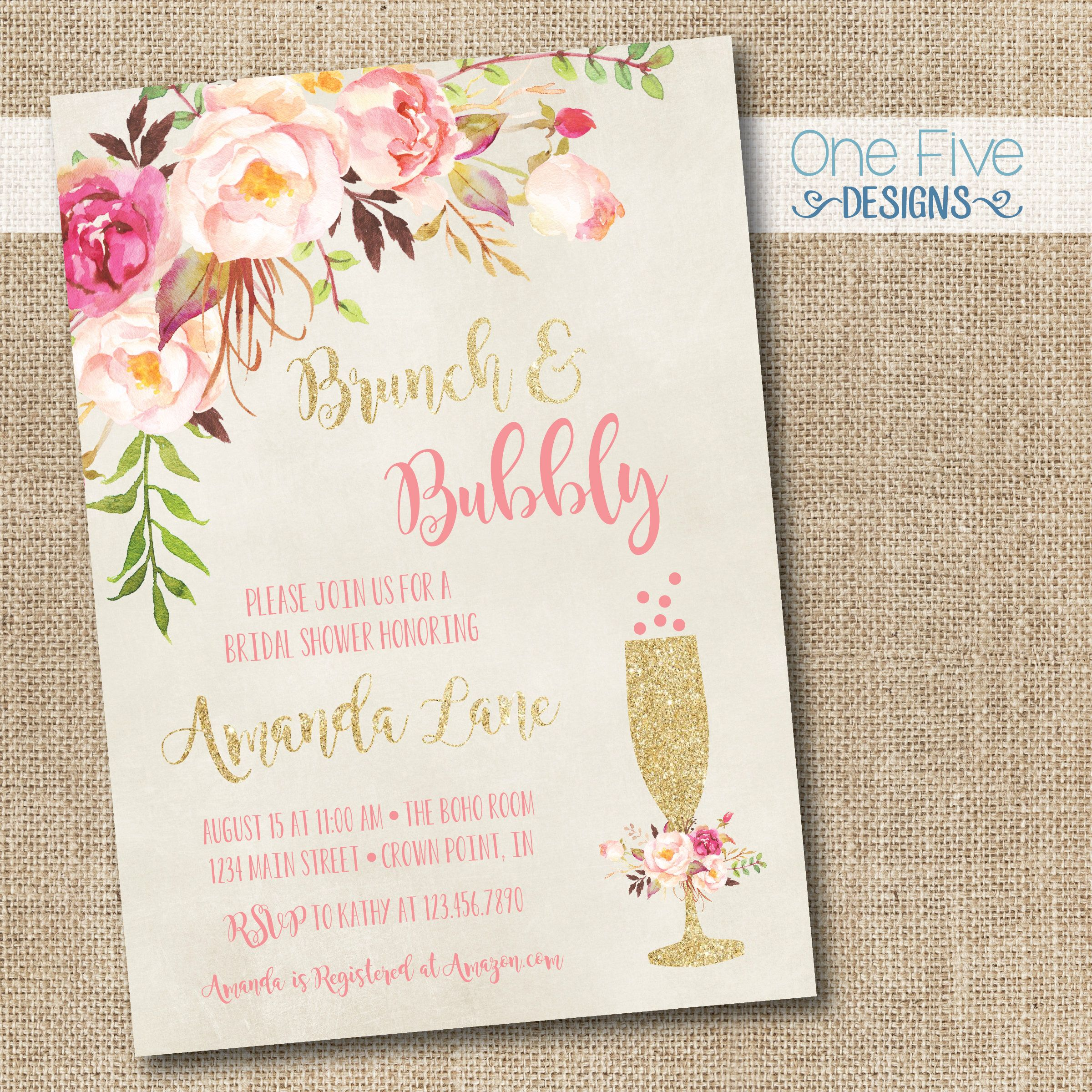Brunch & Bubbly Bridal Shower Invitation With Flowers  Printable