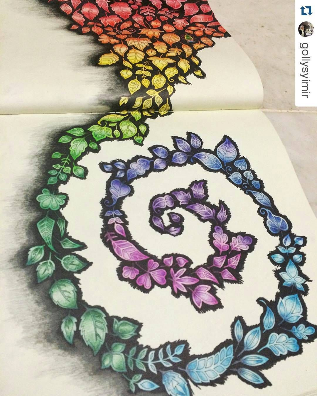 Adorei o degrade de cores!!!!! #Repost @gollysyimir with @repostapp  #rainbow #enchantedforest #enchantedforestcoloringbook #johannabasford #coloring #secretgarden #jardimsecreto #florestaencantada #artecomoterapia #coloriage #colorir #instaart #instacoloring #coloring #livrodecolorir #amocolorir
