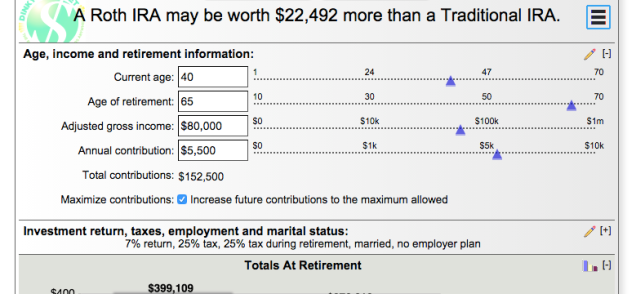 This Calculator Will Help You Decide Between A Roth Or Traditional Ira Traditional Ira Roth Ira Calculator Roth